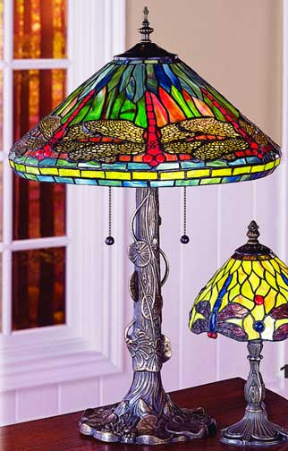 Tiffany Lamps Multi Colored Dragonfly Table Lamp By Paul Sahlin Tiffany