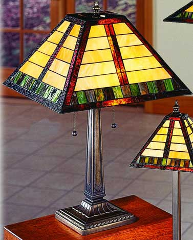 lamps earthtone horizontal line pattern craftsman mission table lamp. Black Bedroom Furniture Sets. Home Design Ideas