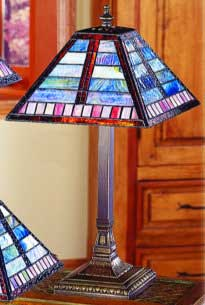 Tiffany Lamps Blues And Purples Horizontal Line Pattern Craftsman