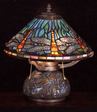 tiffany lamps dragonfly shade on mosaic base. Black Bedroom Furniture Sets. Home Design Ideas