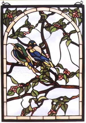Tiffany Stained Glass Windows Love Birds Art Glass Window