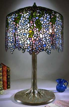 Tiffany lamp reproductions wisteria shade on tree trunk base mozeypictures Gallery